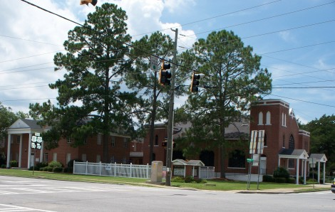 First Baptist Church, located at the main redlight in Tiny Town