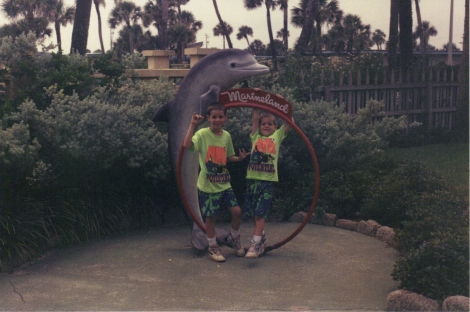 Sportin' those matching neon outfits on vacation at Marineland...