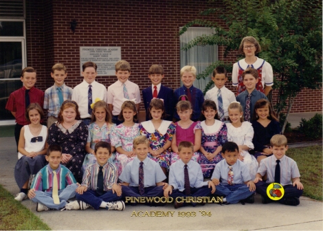 Brad's class the first year at PCA (he's marked with a sticker)