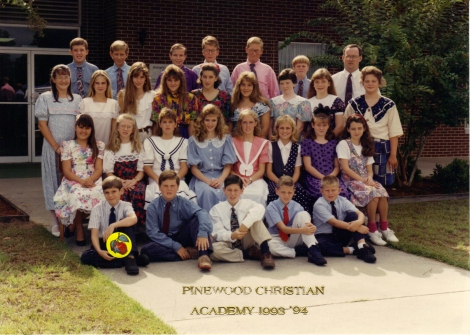 Brett's class the first year at PCA (he's marked with a sticker)