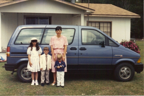 Easter 1988 on the way to church--in front of our house