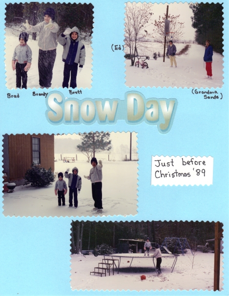 photos from an old scrapbook~our children playing in the snow
