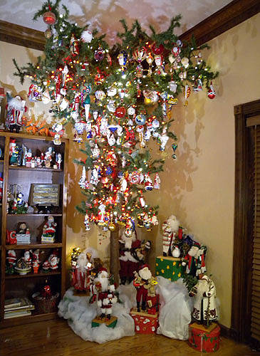 the - Upside Down Christmas Tree Decorated